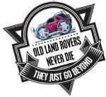 Koolart OLD LAND ROVERS NEVER DIE Slogan For Retro Land Rover Freelander 1 External Vinyl Car Sticker Decal Badge 100x100mm